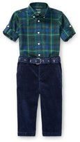 Ralph Lauren Poplin Tartan Shirt & Pants Set, Green, Size 9-24 Months