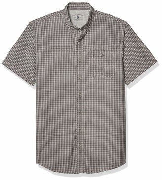 G.H. Bass & Co. Men's Big & Tall Big and Tall Explorer Short Sleeve Fishing Shirt Plaid Button Pocket Grey 4X-Large
