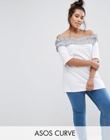 Asos T-Shirt with Stripe Ruffle Off Shoulder