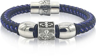 Blackbourne Lily Engraved Stainless Steel and Braided Leather Men's Bracelet