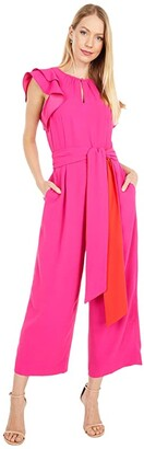 J.Crew Ruffle Sleeve Jumpsuit with Tie Belt (Fuchsia Blossom) Women's Jumpsuit & Rompers One Piece