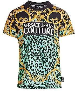 Versace Men's Leopard Baroque Print Tee