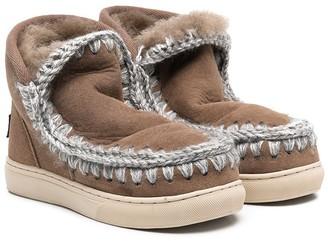 Mou Kids Crochet Stitch Sneaker Boots