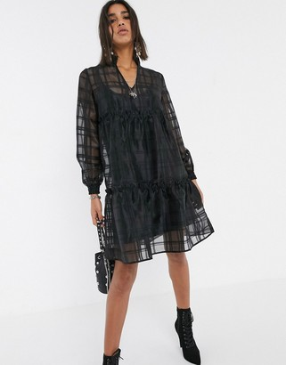 Object oversized organza tiered smock dress