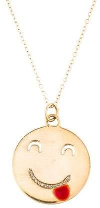 Alison Lou 14K Diamond Tongue Out Pendant Necklace