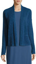 Eileen Fisher Linen-Blend Ribbed Cropped Cardigan, Denim