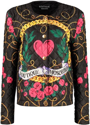 Boutique Moschino Logo Print Quilted Jacket