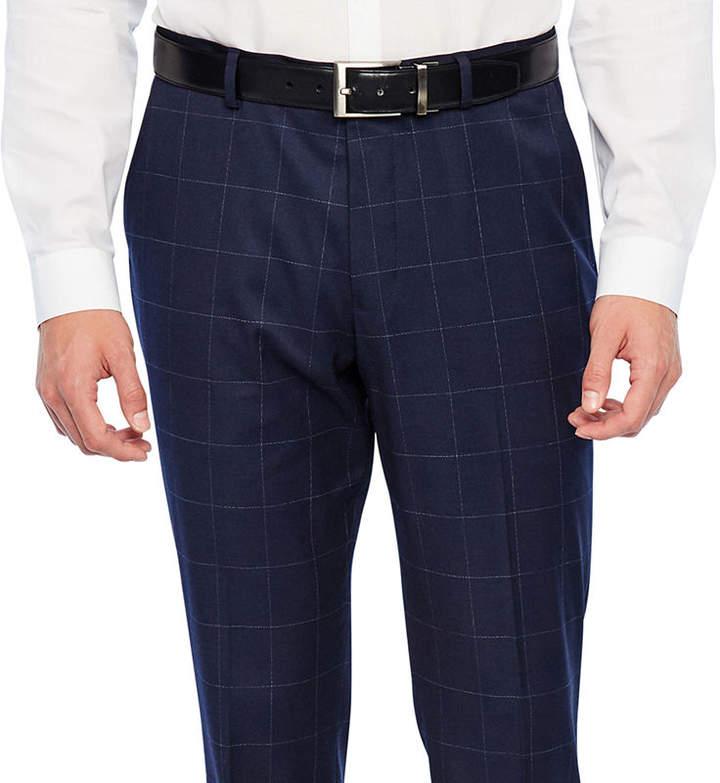Jf J.Ferrar Navy Windowpane Slim Fit Stretch Suit Pants
