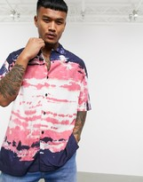 Religion revere collar oil dye print short sleeve shirt in navy