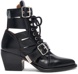 Chloé Rylee Leather Lace Up Buckle Boots in Black | FWRD