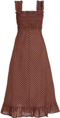 Ganni Gingham Seersucker Midi Dress