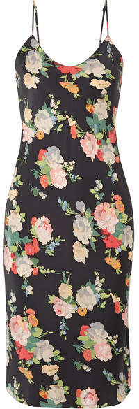 Nili Lotan Floral-print Silk-satin Dress - Black