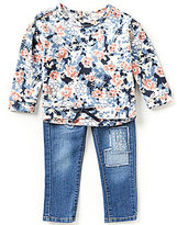 Jessica Simpson Baby Girls 12-24 Months Floral-Print French Terry Top and Denim Jeggings Set