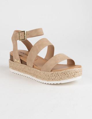 Soda Sunglasses Ankle Banded Taupe Womens Espadrille Flatform Sandals