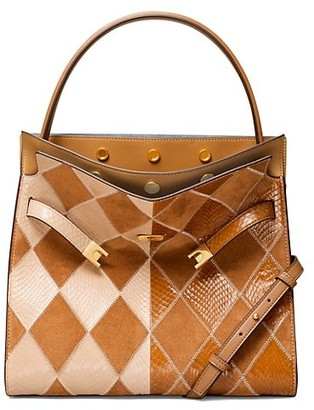 Tory Burch Lee Radziwill Argyle Colorblock Snakeskin & Suede Satchel