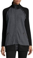 525 America Oversized Raglan Zip-Front Sweater, Gray