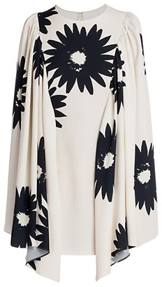 Stella McCartney Luciana Floral Cape-Sleeve Mini Dress
