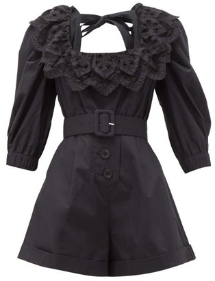 Self-Portrait Self Portrait Ruffled Tie-back Belted Cotton Playsuit - Womens - Black