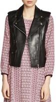 Maje Blondy Sleeveless Leather Jacket