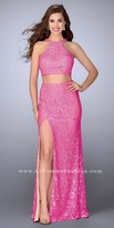La Femme Lace Two Piece Rhinestone Embellished Halter Prom Dress