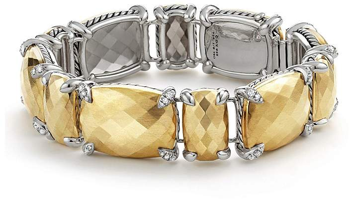 David Yurman Ch'telaine Linear Bracelet with Faceted 18K Yellow Gold Domes & Diamonds