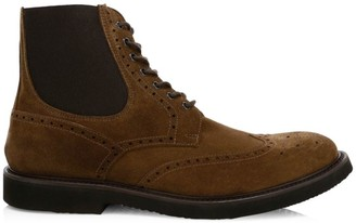 Eleventy Perforated Suede Wingtip Boots