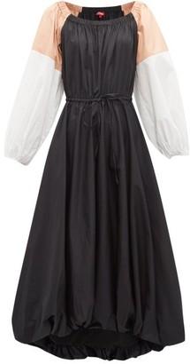 STAUD Colour-block Cotton-blend Midi Dress - Womens - Black Multi
