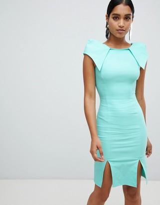 Vesper cap sleeve split front midi dress