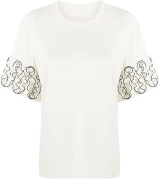 See by Chloe frilled cuff relaxed-fit T-shirt