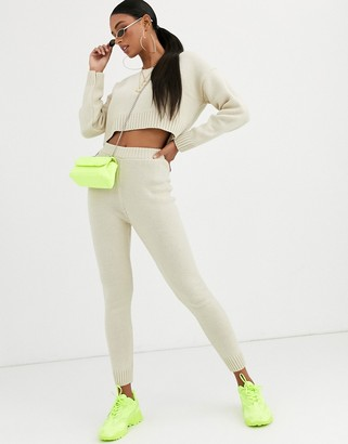 Asos Design DESIGN co-ord knitted jogger-Stone