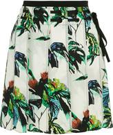 Proenza Schouler Pleated printed silk-crepe mini skirt