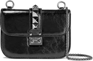 Valentino Garavani Rockstud Lock Crinkled Patent-leather Shoulder Bag