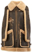 Maison Margiela distressed shearling cape coat