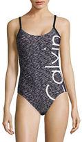 Calvin Klein One-Piece Space Dye Logo Swimsuit