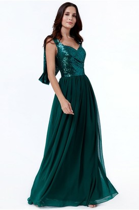 Goddiva Cowl Back Sequin & Chiffon Maxi Dress