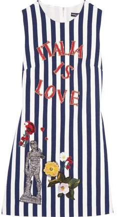 Dolce & Gabbana Embellished Striped Cotton-Blend Mini Dress