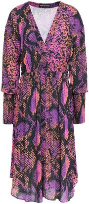 House of Holland Gathered Snake-print Gauze Dress
