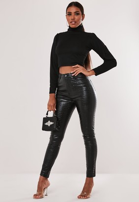 Missguided Recycled Petite Black Roll Neck Crop Top