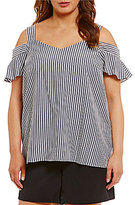 Gibson & Latimer Plus Striped Cold-Shoulder Tank