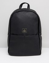 Asos Backpack In Grain Faux Leather In Black With Front Pockets