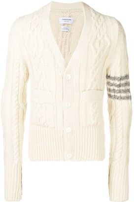 Thom Browne 4-bar Aran Cable Cashmere Cardigan