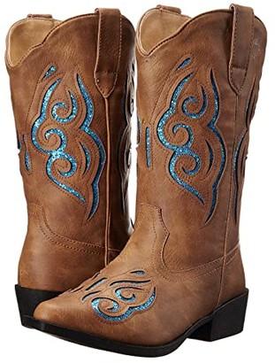 Roper Glitter Gracie (Toddler/Little Kid) (Tan Faux Leather/Vamp Turquoise Glitter Insert Shaft) Cowboy Boots