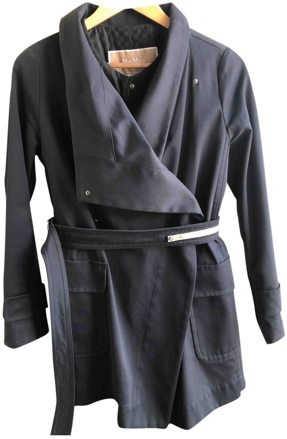 Max Mara Blue Cotton Trench Coat for Women