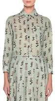Marni Long-Sleeve Button-Front Vine-Print Woven Blouse