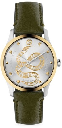 Gucci Unisex G-Timeless King Snake Leather Strap Stainless Steel Watch