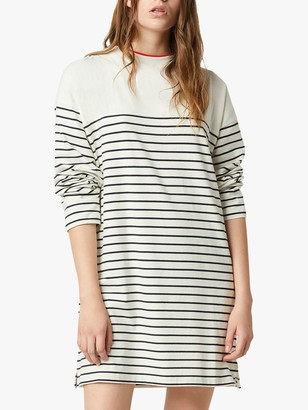 French Connection Tim Tim Breton Stripe Long Sleeve Dress, Classic Cream/Utility Blue