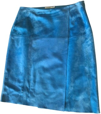 Protagonist Blue Leather Skirt for Women