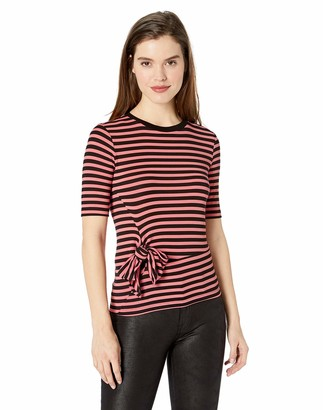 Ella Moss Women's Khloe Striped Tie Front Short Sleeve Tee Shirt