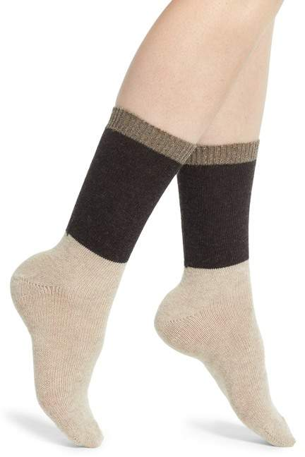 Colorblock Cashmere Blend Crew Socks