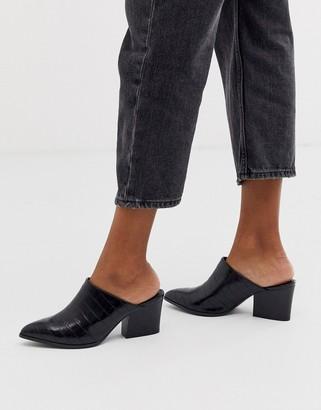 Qupid pointed heeled mule in black croc